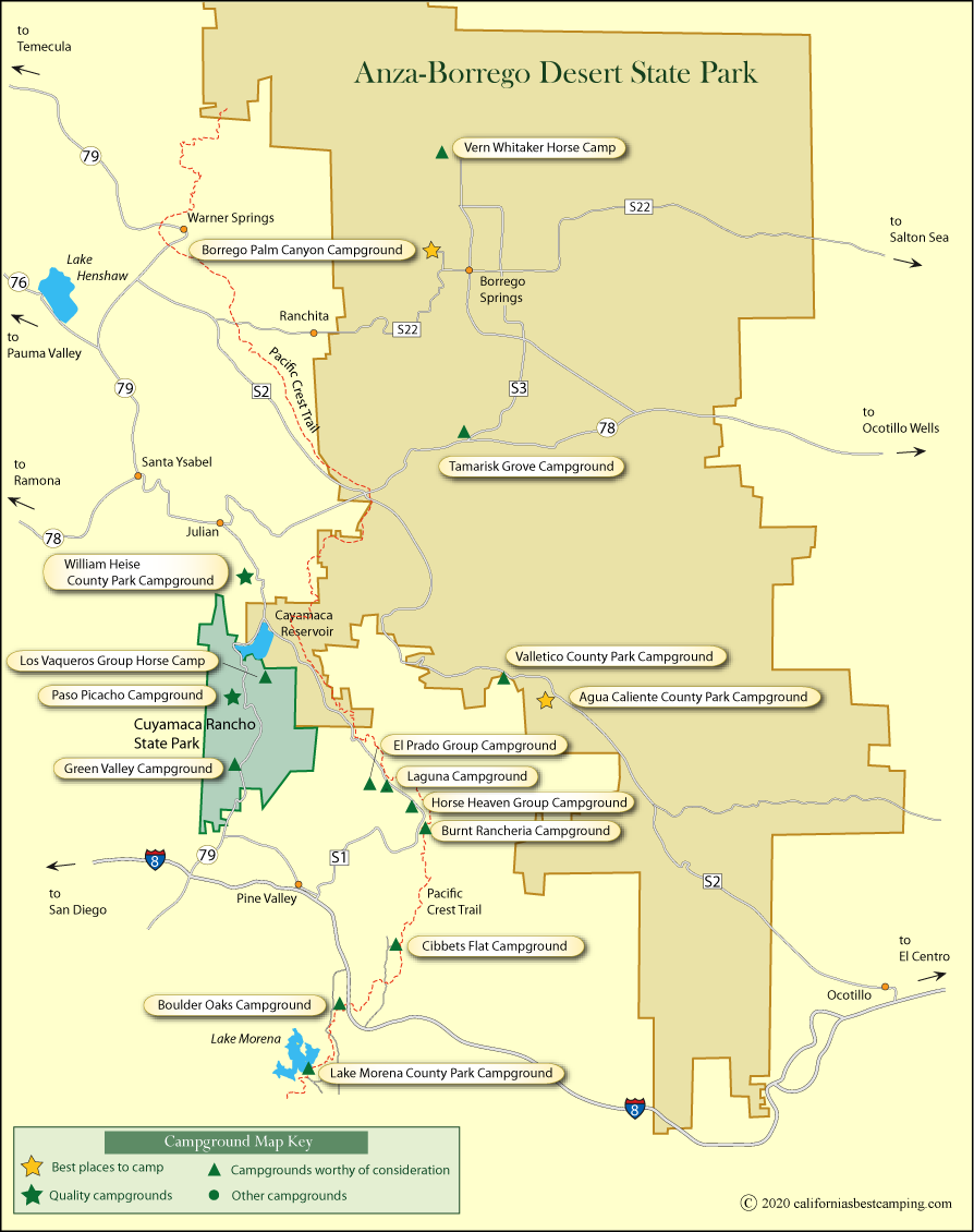 map of campground locations in and around Anza-Borrego Desert State Park