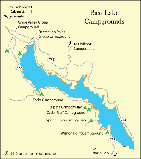 map of campgrounds at Bass Lake, CA
