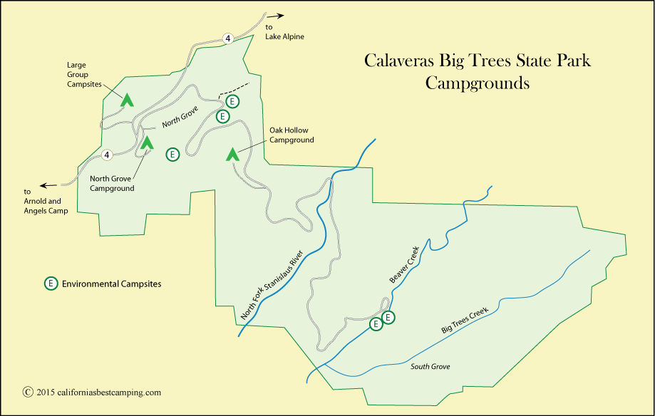 map of campground locations in Calaveras Big Trees State Park, including Oak Hollow Campground, CA