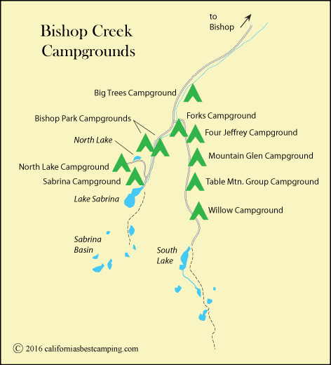 Map of Campgrounds along Bishop Creek in the Inyo National Forest, CA