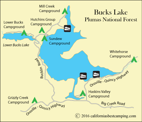 map of Bucks Lake, Plumas National Forest, CA