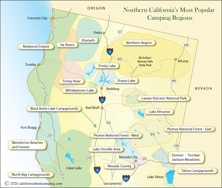 map of camping regions of northern California