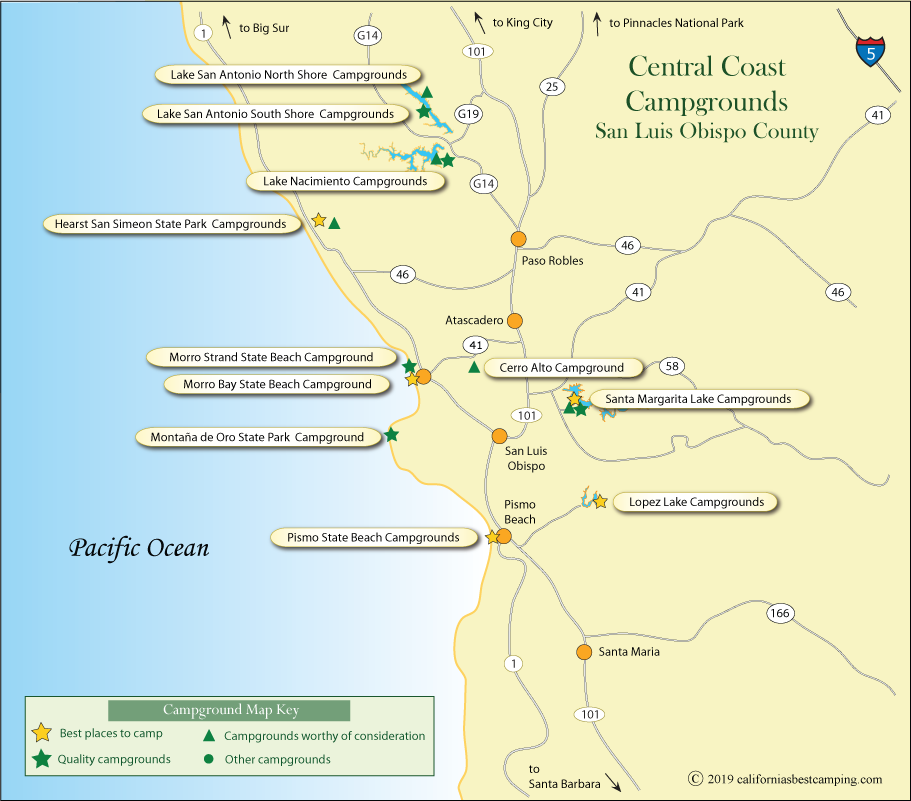 San Luis Obispo County Campground Map
