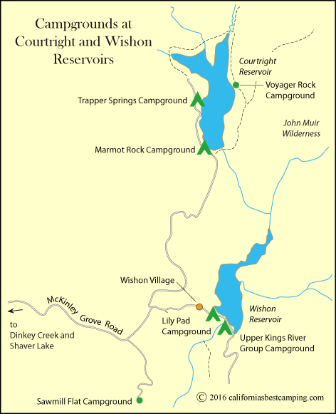 Map of campgrounds at Courtright Reservoir and Wishon Reservoir,  showing Marmot Rock Campground, CA