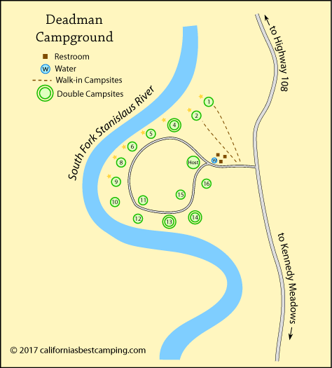 Deadman Campground map, Stanislaus National Forest, CA