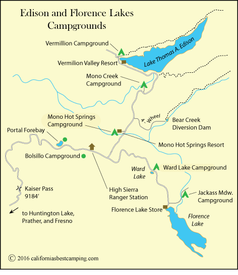 map of campgrounds at around Lake Thomas A. Edison and Florence Lake, including Ward Lake Campground, CA