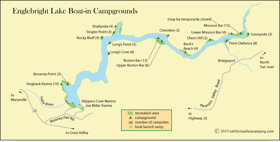 map of Englebright Lake Boat-in Campgrounds locations, CA