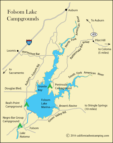 map of campgrounds at Folsom Lake, including Negro Bar Group Campground, CA