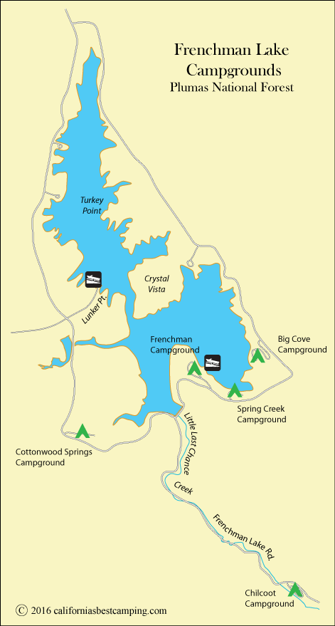 map of Frenchman Lake, CA