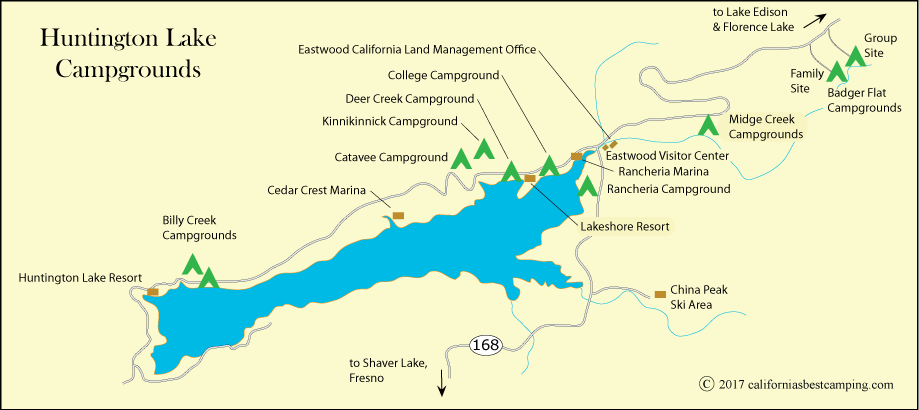 map of campground locations at Huntington Lake, Sierra National Forest, including Catavee Campround, CA