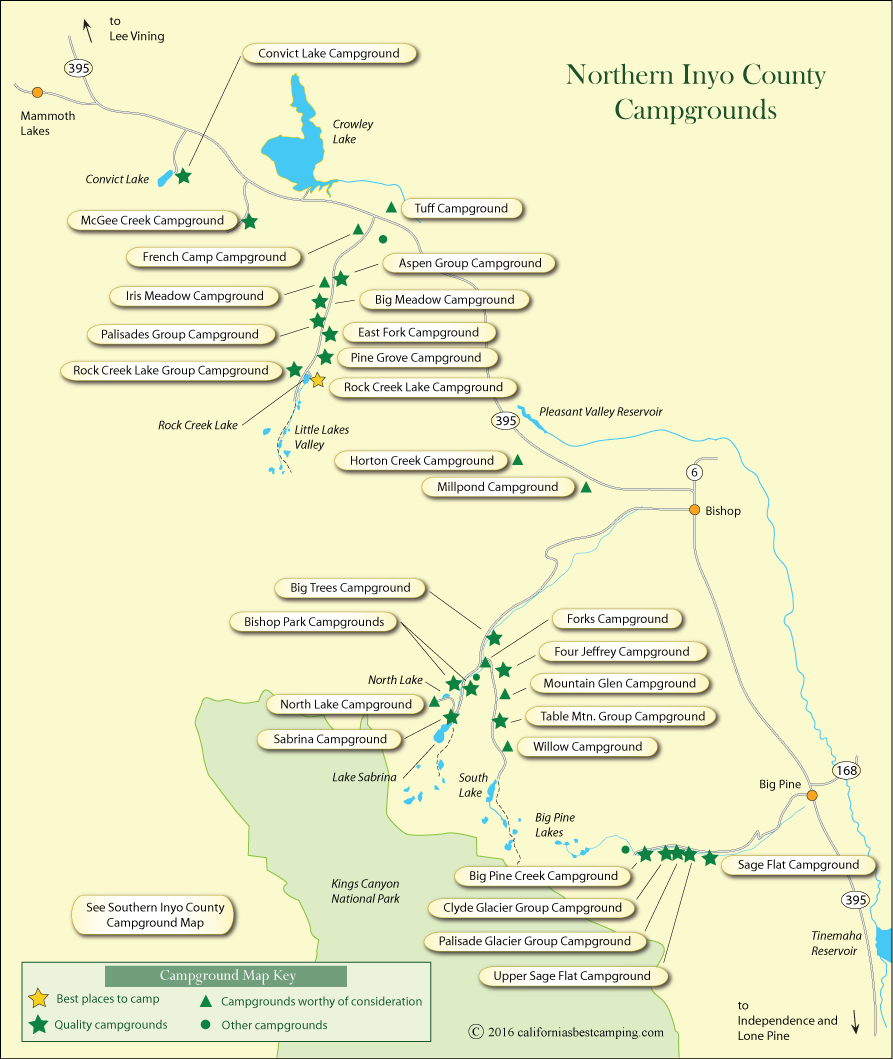 map of campgrounds in northern Inyo County
