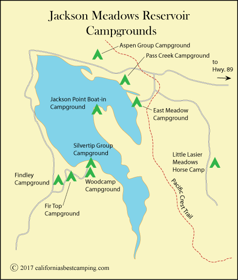 map of campgrounds at Jackson Meadows Reservoir, CA