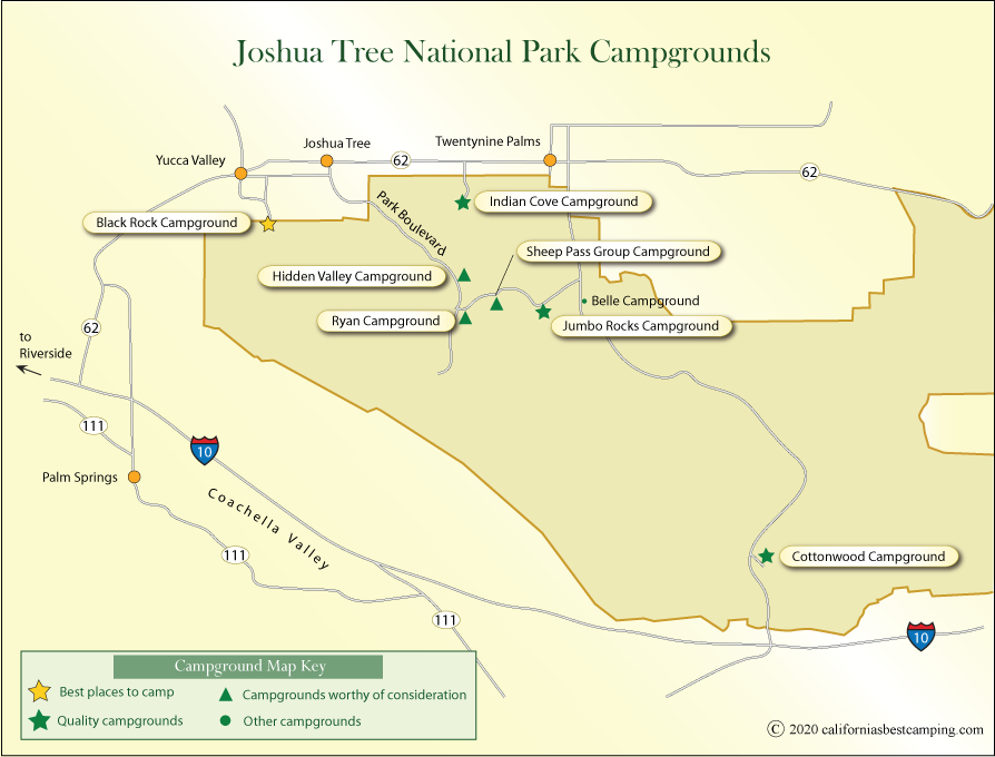 map of campgrounds in Joshua Tree National Park