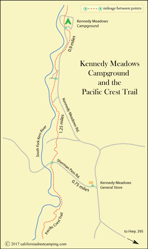map of Kennedy Meadows Campground area, CA