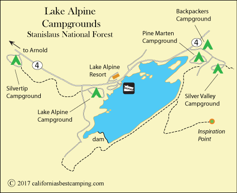 Lake Alpine map, CA