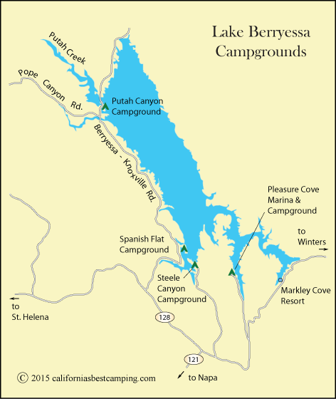 map of Lake Berryessa Campgrounds,including Pleasure Cove Campground, CA