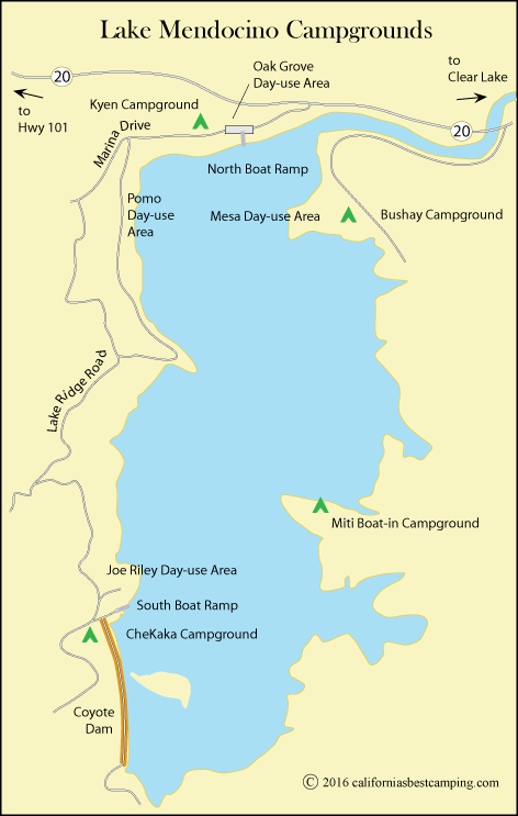 map of Lake Mendocino, CA