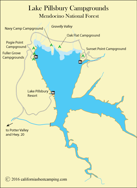 map of Lake Pillsbury, CA