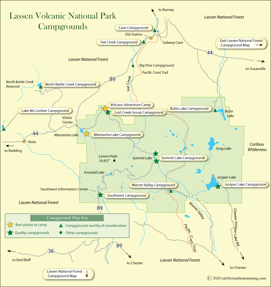 map of campground locations in Lassen Volcanic National Park