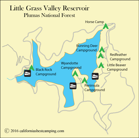 map of Little Grass Valley Reservoir, CA