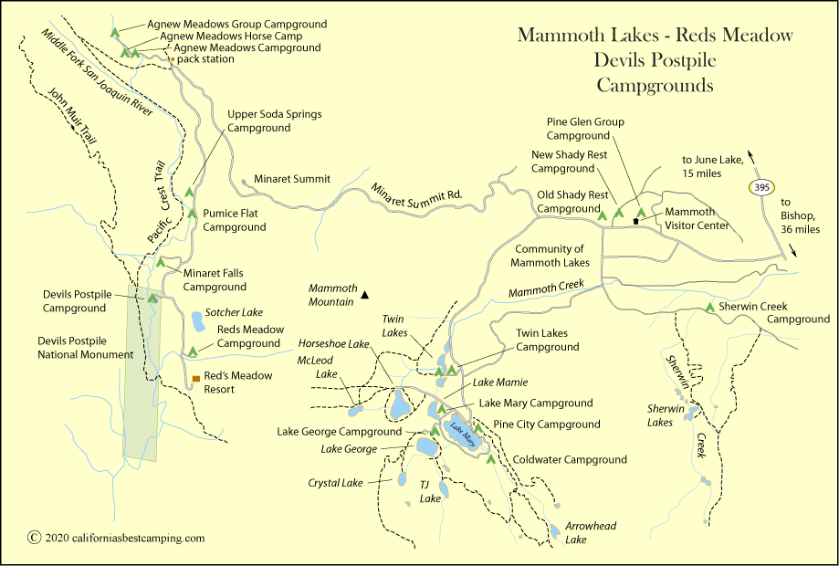 map of campground locations around Mammoth Lakes and Devils Postpile National Monument, including Pumice Flat Campground