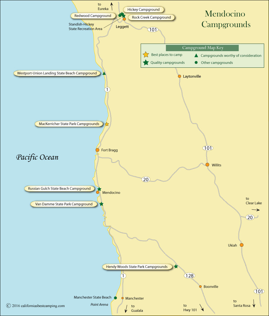 map of campground locations in Mendocino County, CA