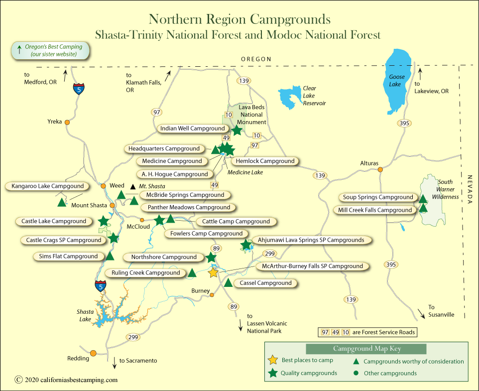 map of campground locations around Mt. Shasta and Modoc County,  CA