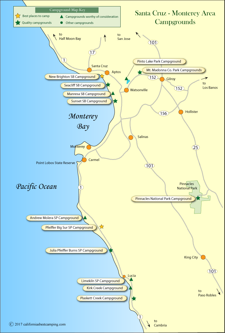 map of campground locations in Santa Cruz and Monterey counties, CA