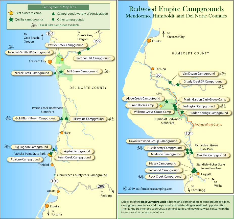 map of campgrounds in Humboldt and Del Norte counties