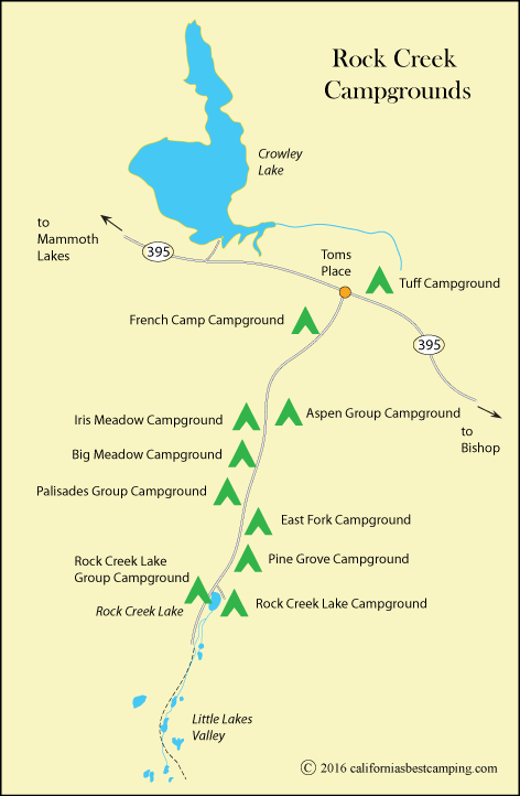 Map of Campgrounds along Rock Creek in the Inyo National Forest, including Tuff Campground, CA
