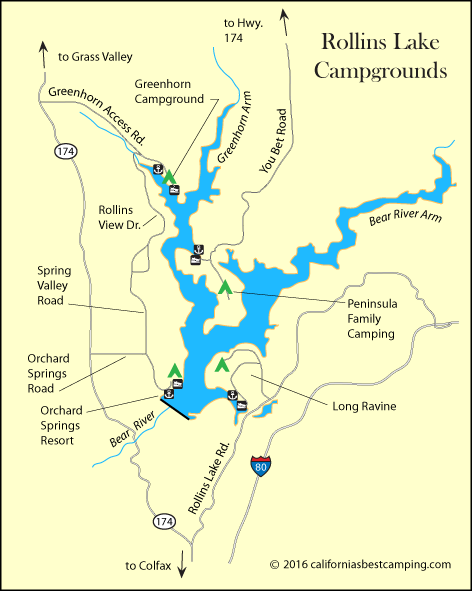 map of Rollins Lake campgrounds, including Long Ravine Campground, CA