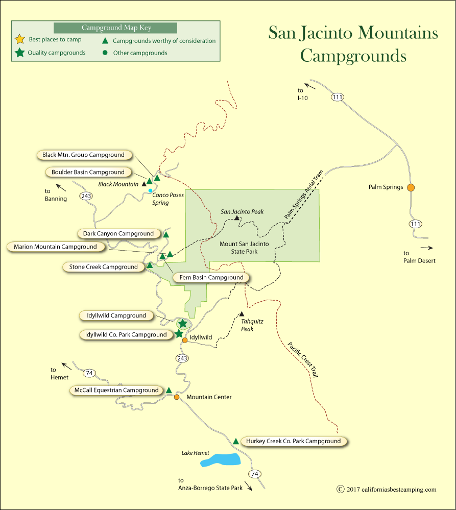 map of campgrounds in the San Jacinto Mountains