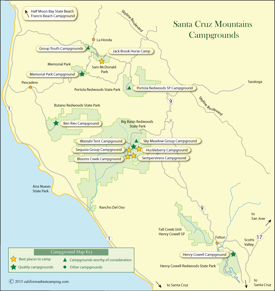 map of campground locations in the Santa Cruz Mountains, CA