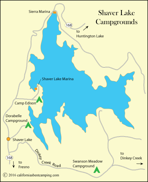 Shaver Lake Campgrounds map, CA - showing area campgrounds including Camp Edison.