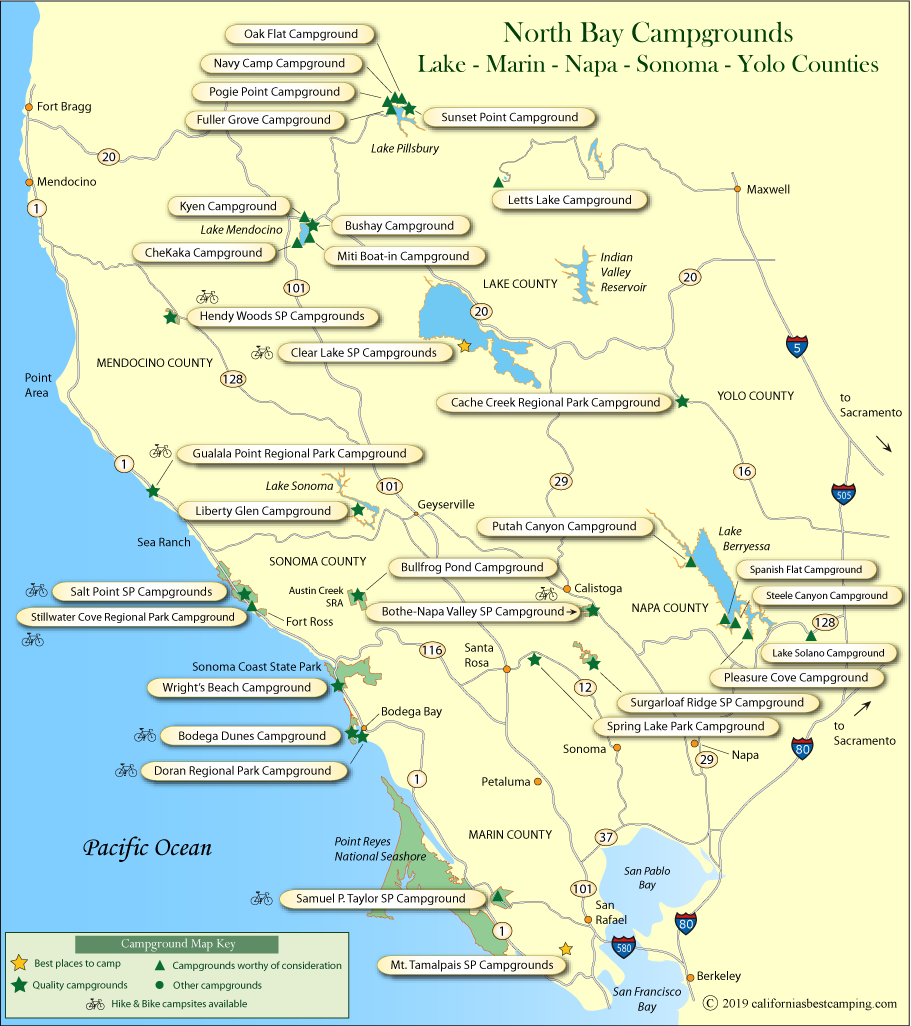 map of campground locations around Sonoma, Napa, Marin, and Yolo counties