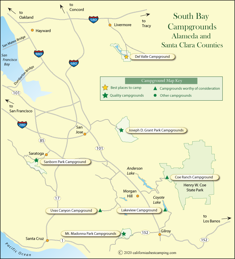 map of campground locations around Santa Clara and Alameda counties