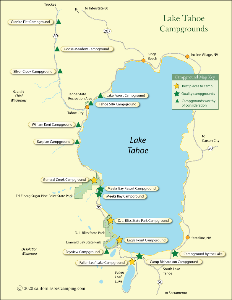 map of campground locations around Lake Tahoe, CA