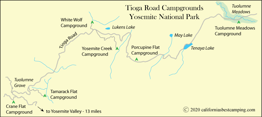 map of campground locations on Tioga Road, including Tamarack Flat Campground, Yosemite National Park