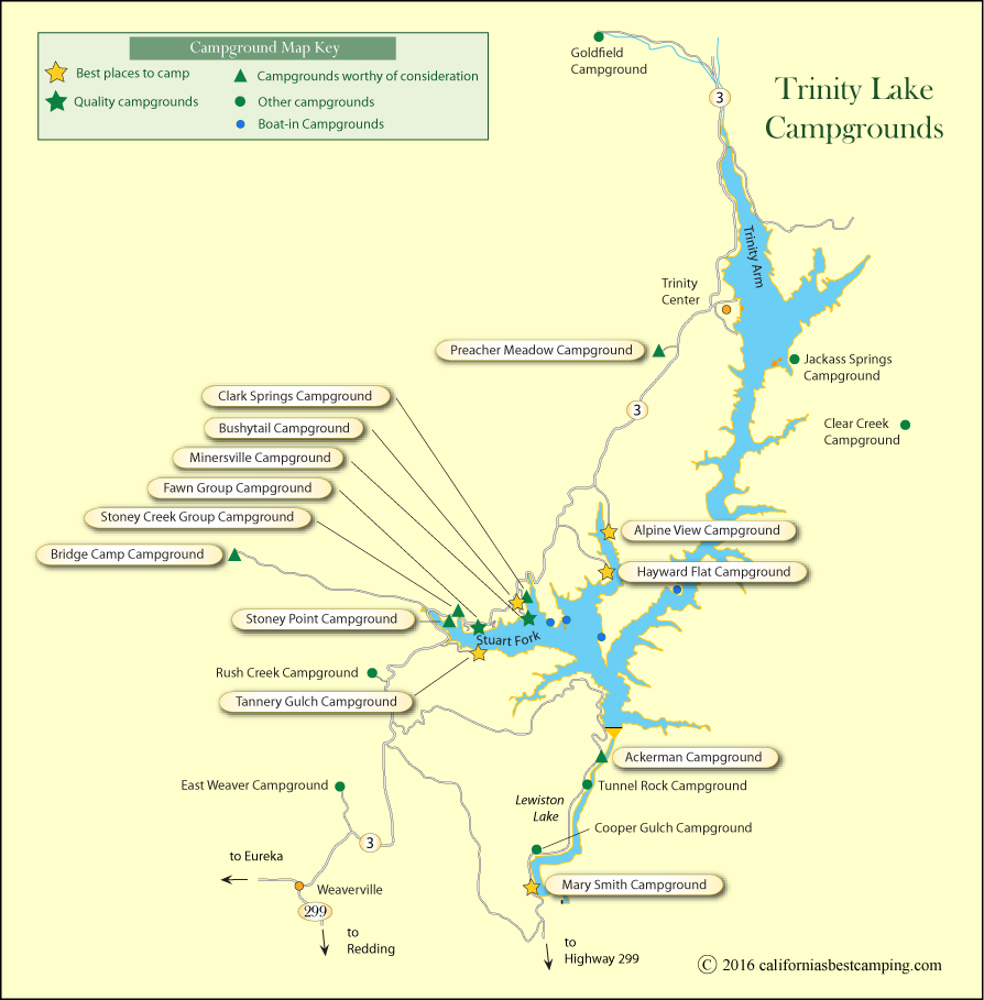 map of campgrounds around Trinity Lake, CA
