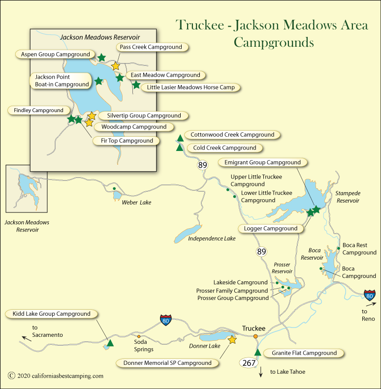 map of campground locations around Truckee and Jackson Meadows