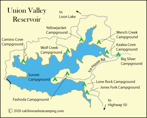 map of campgrounds at Unioin Valley Reservoir, including Jones Fork Campground, Eldorado National Forest, CA