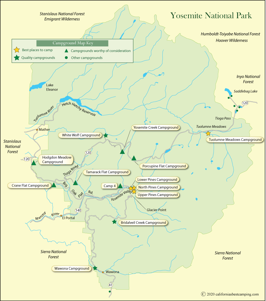 map of campground locations in Yosemite National Park
