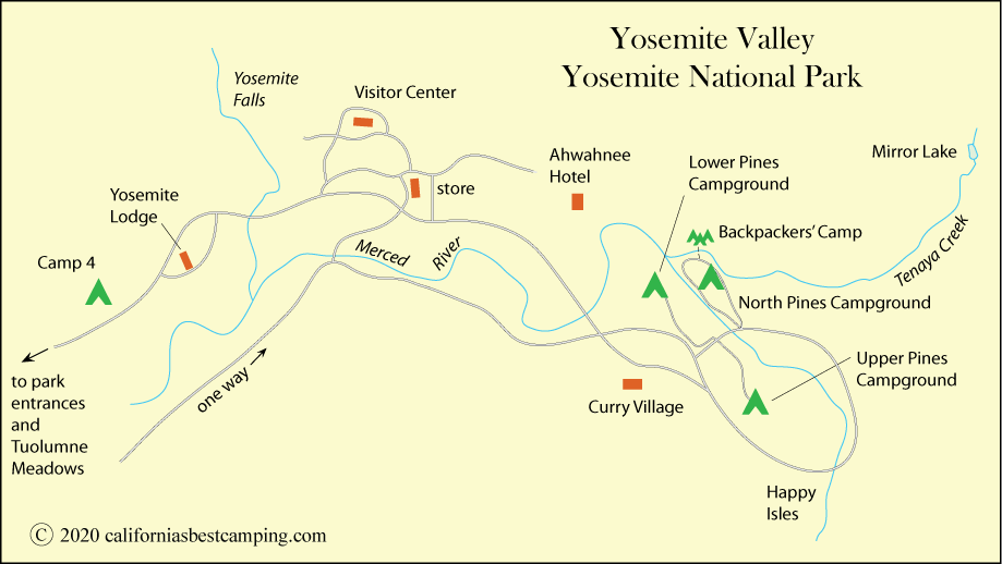 map of campground locations Yosemite Valley, including North Pines Campground,  Yosemite National Park