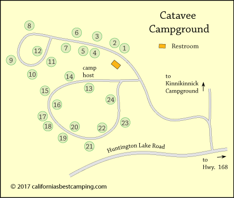 Catavee Campground map, Sierra National Forest, CA