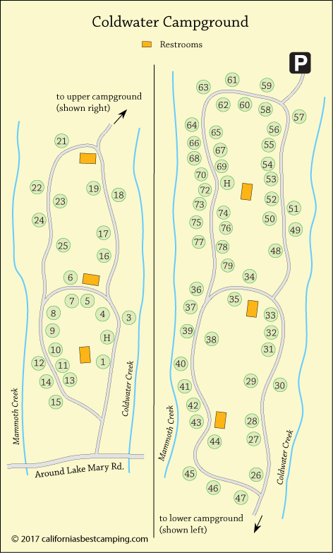 Coldwater Campground Map, Mammoth Lakes, CA
