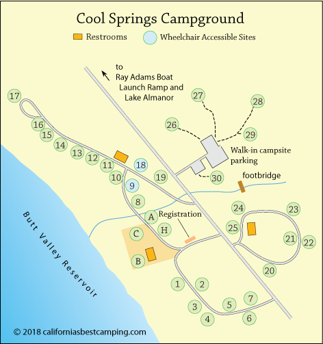 Cool Springs Campground Map, Butt Valley Reservoir, CA