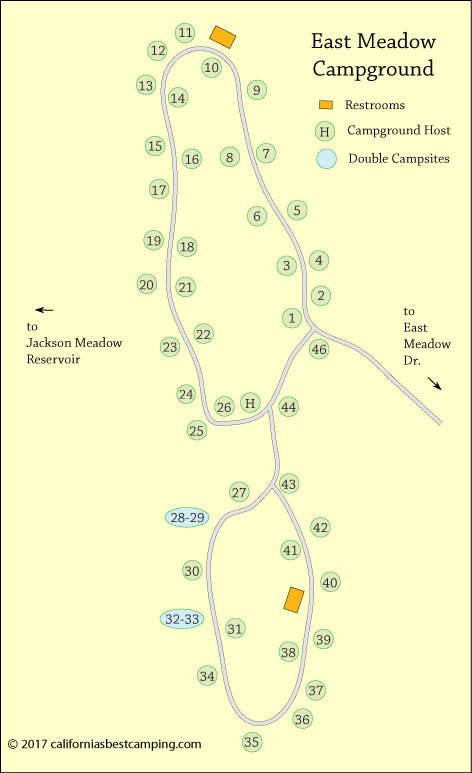 East Meadow Campground map, Tahoe National Forest,  CA