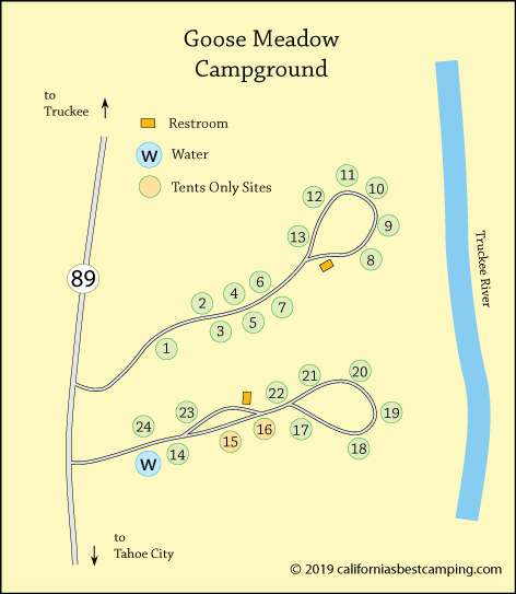 Goose Meadows Campground map, Tahoe National Forest, CA