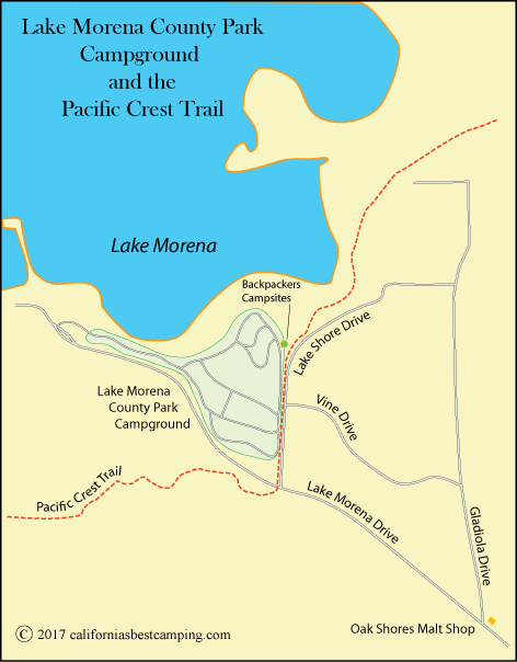 map of Lake Morena County Park Campground and the Pacific Crest Trao;, CA