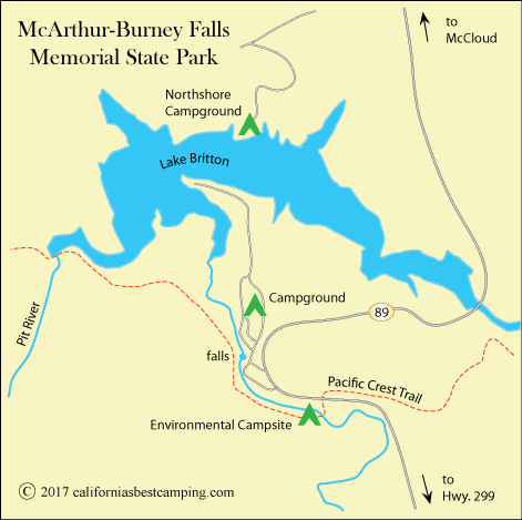 map of McArthur-Burney Falls Memorial State Park, CA